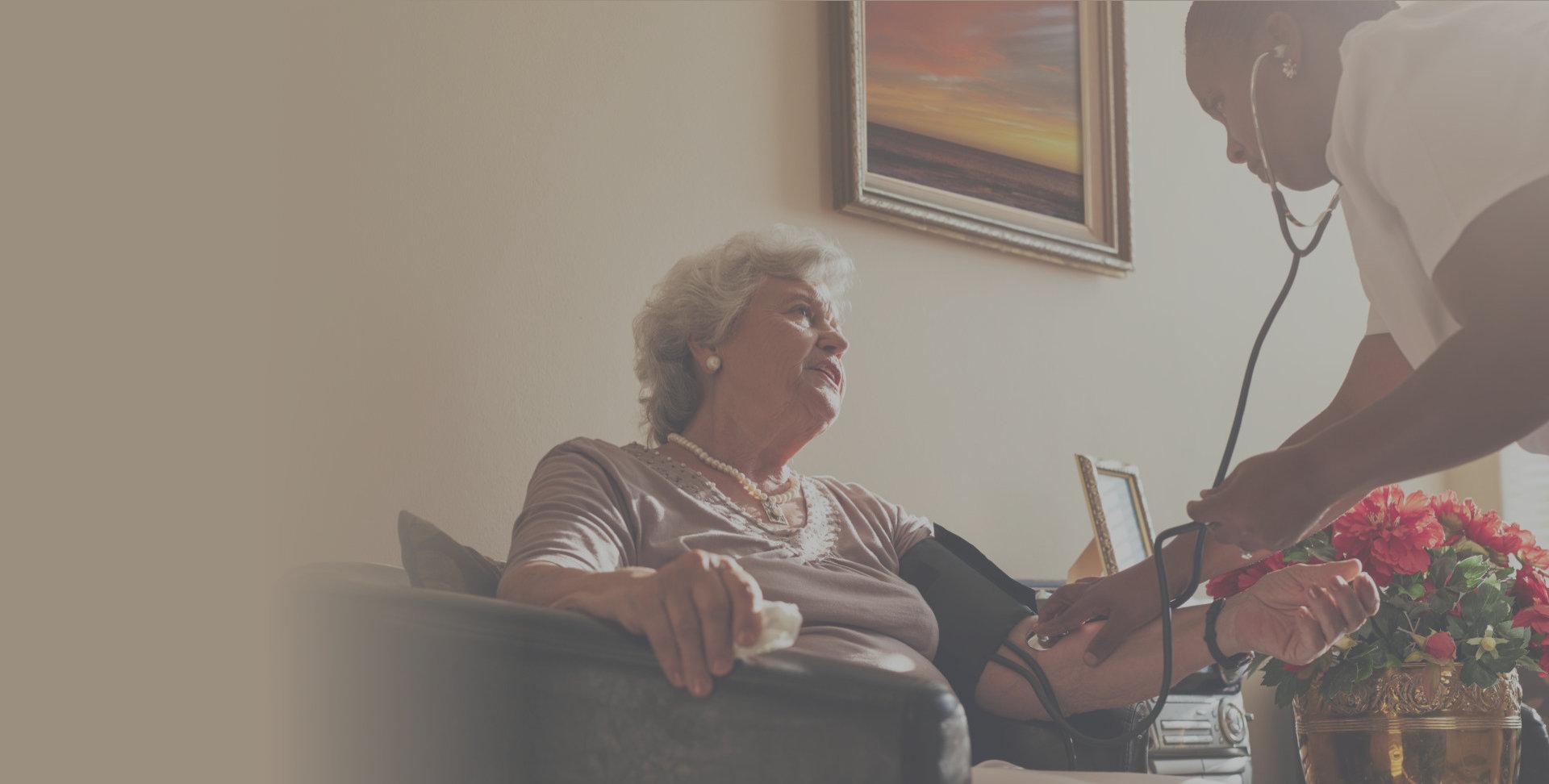Caregiver asissts elderly