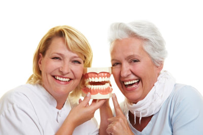 two elderly smiling